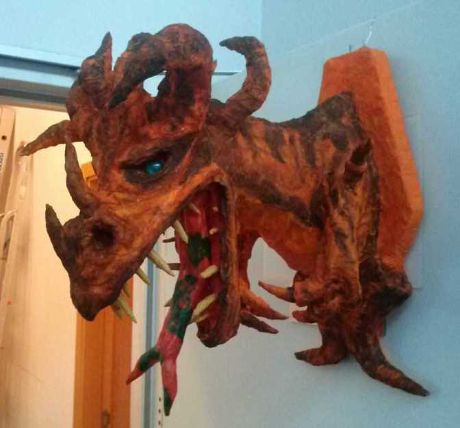 Zbigniew's paper mache dragon trophy