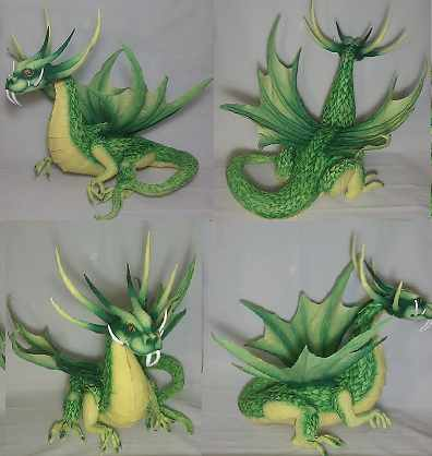aaron stewart's paper mache green dragon