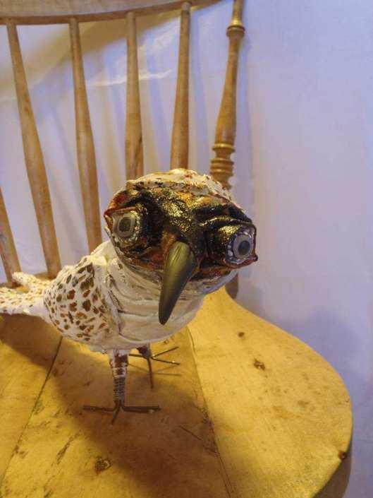 "Ann-Christine Borja's paper mache ""Ugglepippi"" (owlbird)bird"