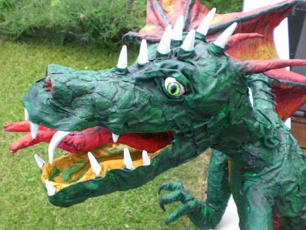 arthur's paper mache dragon face