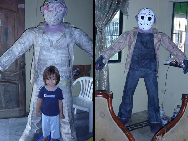 carlos paper mache zombie with daughter