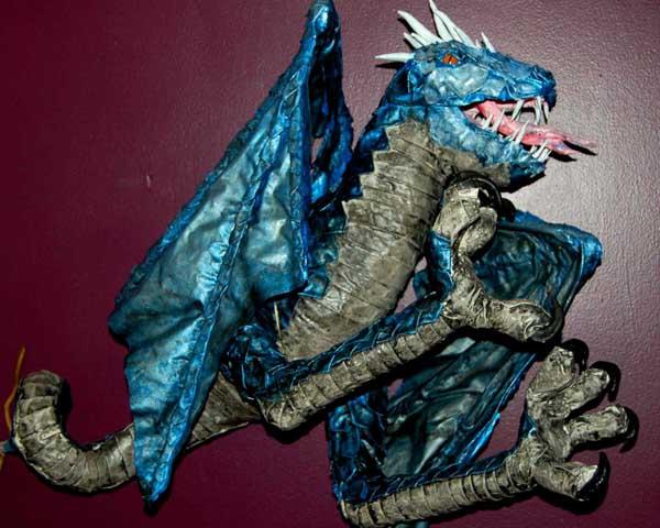 Eric Pinlkington's paper mache dragon