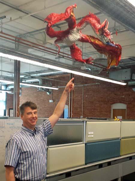 john Cicilio's paper mache dragon