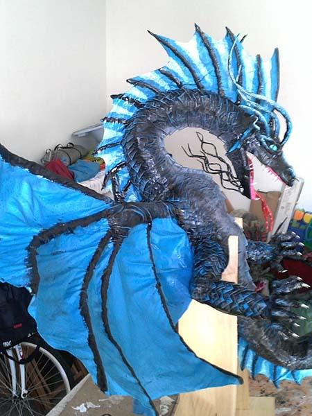 juan beltran's paper mache blue dragon