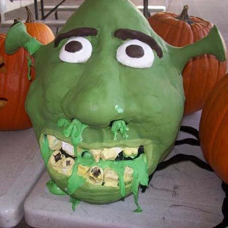 justin bonnie Shrek made out of pumpkin