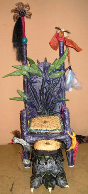 Karens paper mache throne with footstool