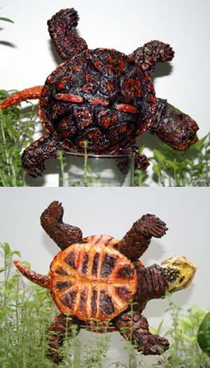 Lisas paper mache boxed turtle2