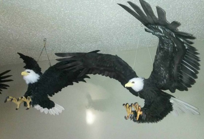 Nancy Arsenault's paper mache eagles