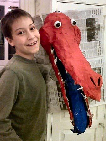 Niles paper mache dragon Miguel