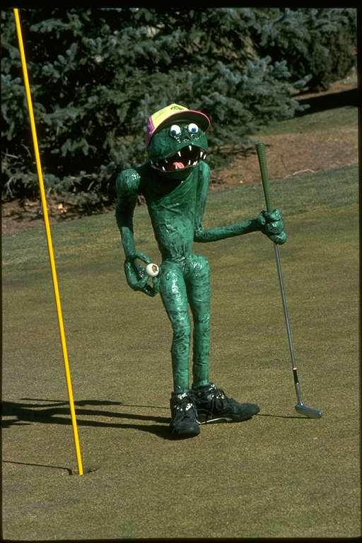 paper mache Angry Golfer By John Dawson