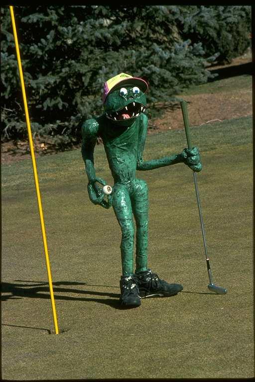 paper mache Angry Golfer By John Dawson