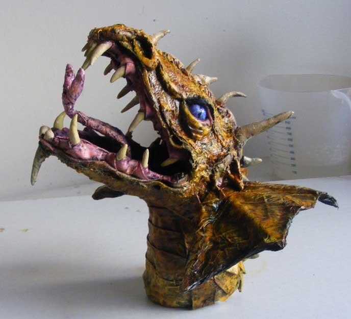 Pauline's paper mache dragon tophy2