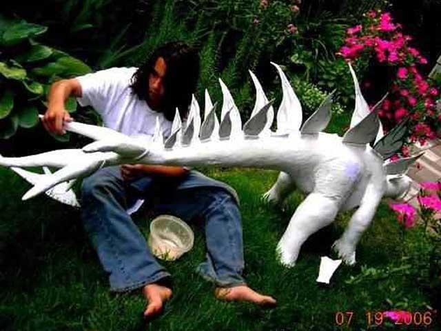 peter thomas' paper mache dinosaur