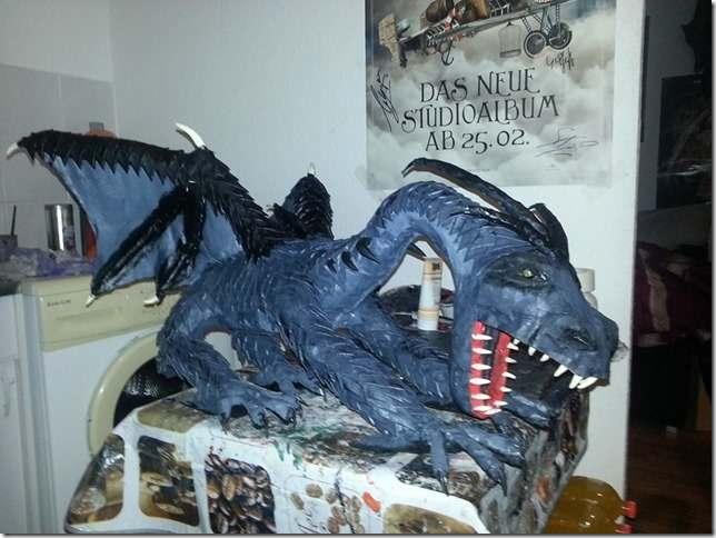 Thomas' paper mache dragon 1