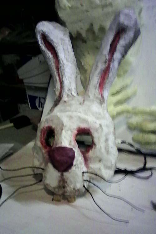 Wade's paper mache rabbit mask