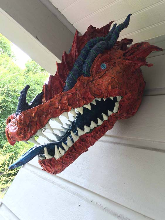 Annie Shao's paper mache dragon trophy
