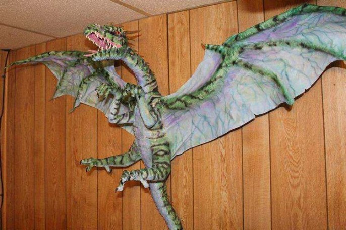 Bonnie Case's paper mache dragon