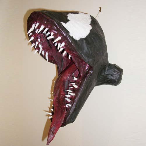"Garret's paper mache ""Venom Hanging Squared"""