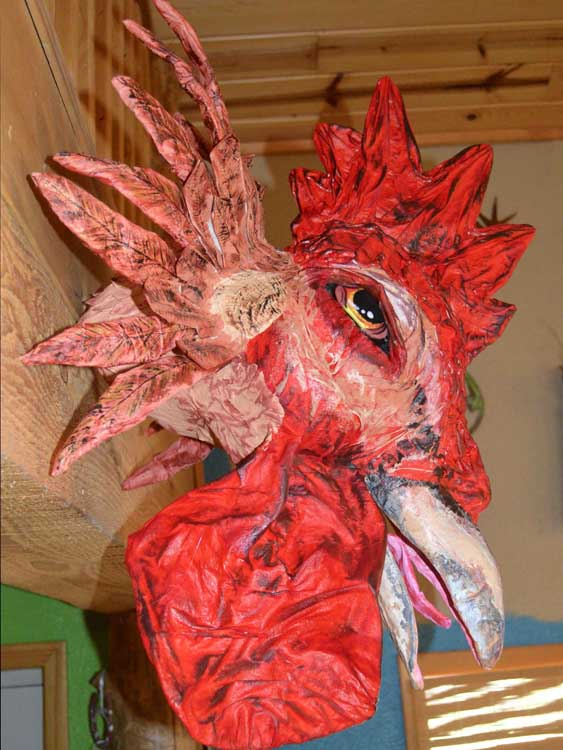 Kelly Moran's paper mache fighting cock