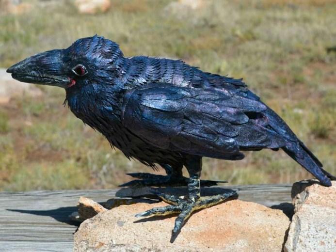Kelly Moran's paper mache raven