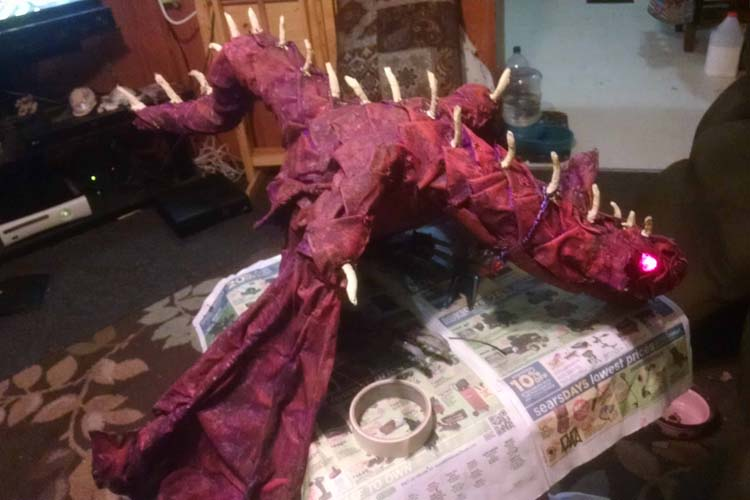 michelle and emily's paper mache dragon