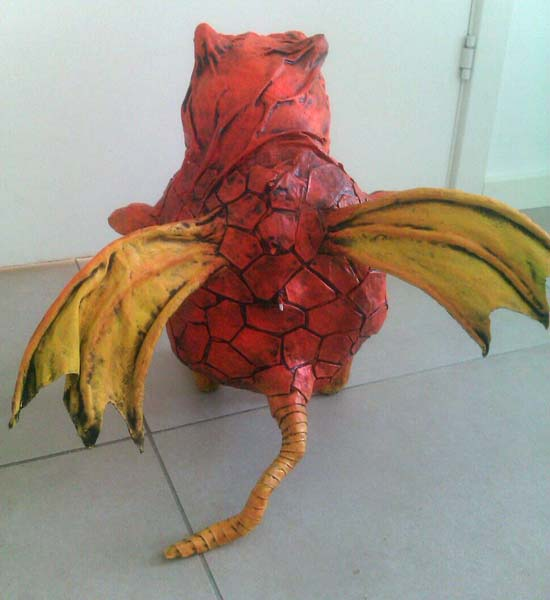 heidis paper mache monster back
