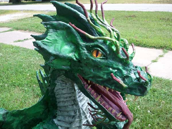 jason's paper mache dragon close up