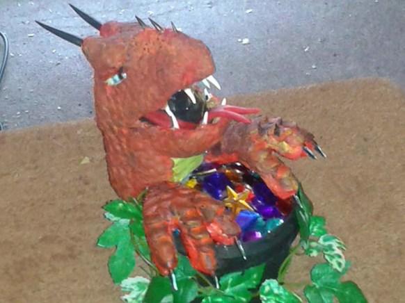 Phillip Stone's paper mache dragon
