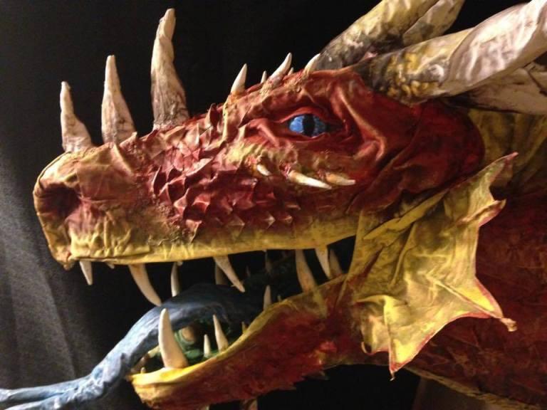 Casey's paper mache dragon trophy