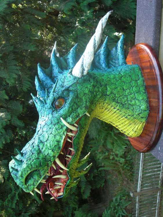 paper mache dragon trophy