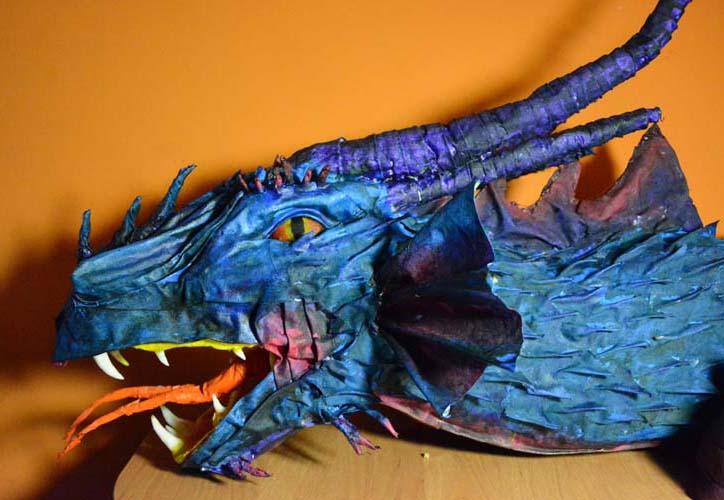 Kamila Plicha's paper mache dragon