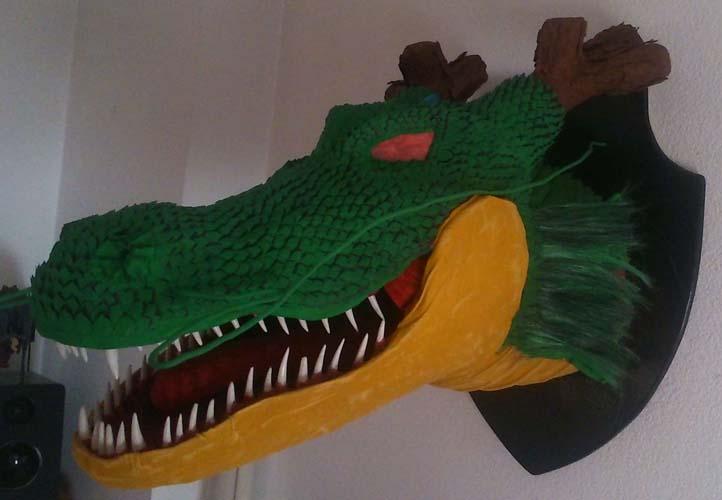 Miguels' paper mache dragon trophy3 shenron