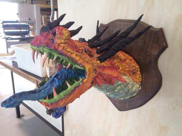 Courtney Ames' paper mache dragon trophy2