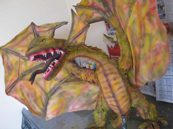 David Bombara's first paper mache dragon