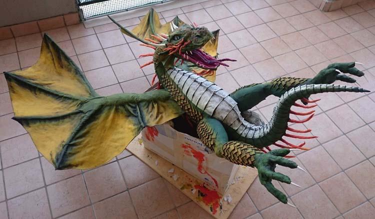Davide Felicione's paper mache dragon