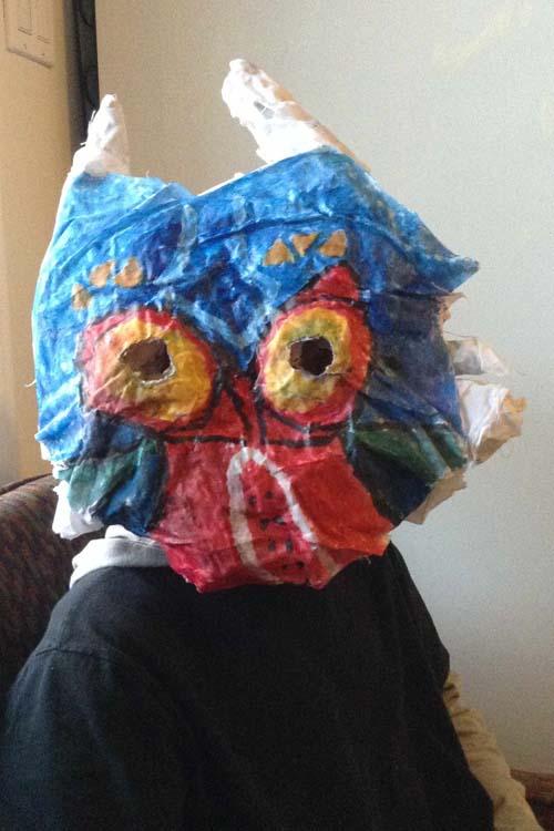 """Ethan Brett's paper mache """"Majora's Mask"""""""