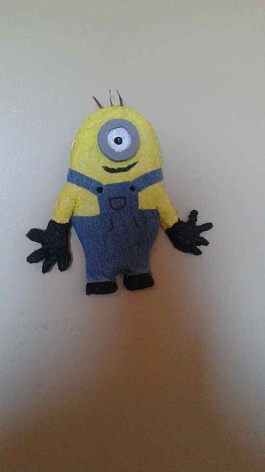 Gabriel and Rock (with mom Andrée Deedee)'s paper mache Minion