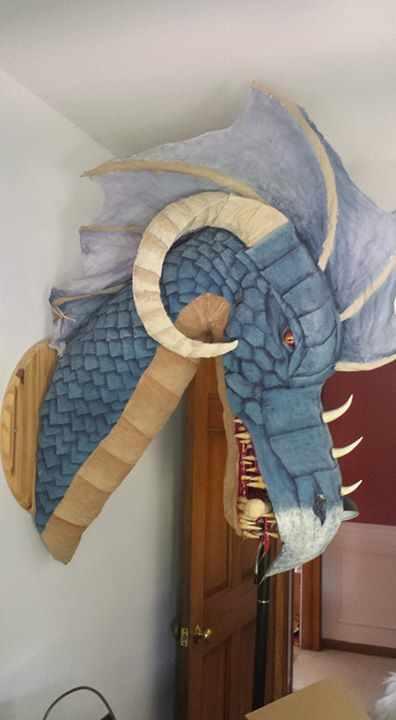 Geoffrey Wonderdog's paper mache dragon trophy