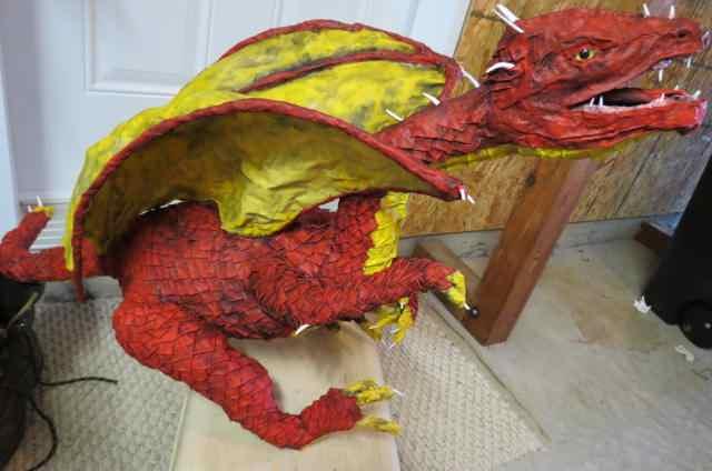 Jake Hickey's paper mache dragon