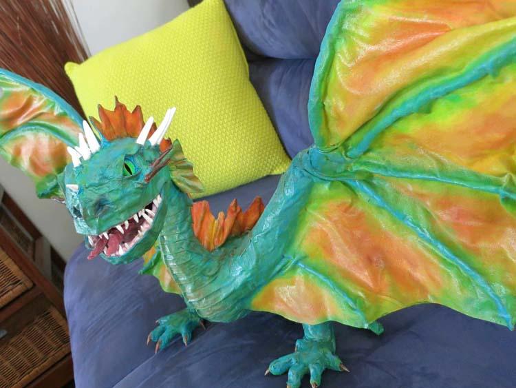 Jennifer Pratley's paper mache dragon