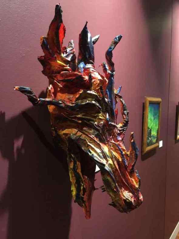 Joanne Secord's paper mache dragon trophy