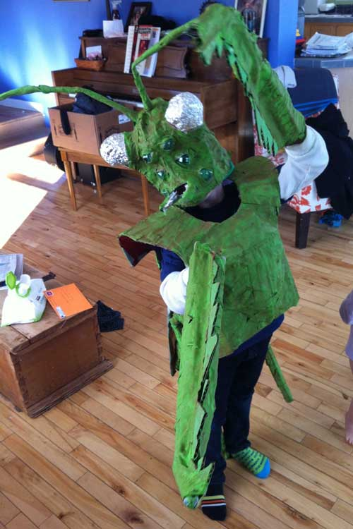 John Daly's paper mache Praying mantis costume