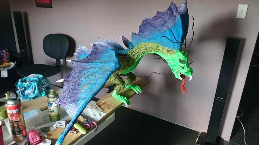 Jolene De Swardt's paper mache dragon
