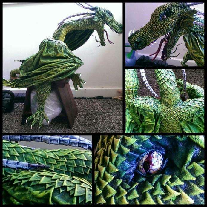 Que Bigg's paper mache dragon