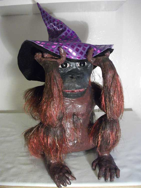 Rachel's paper mache monkey with hat2