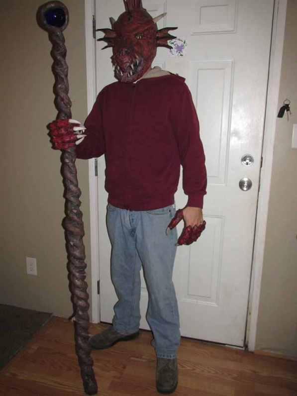 Steven Lewis' paper mache Halloween costume