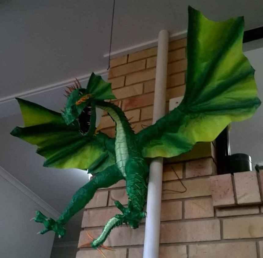 Tanya Johnson's paper mache dragon
