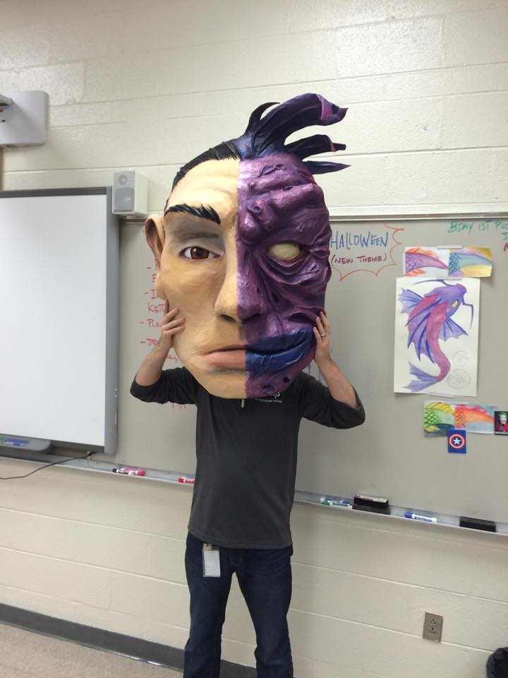Zachary Jackson Brown's paper mache mask
