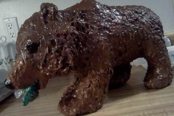 lisas paper mache bear