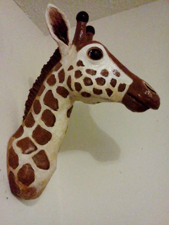 lisas paper mache giraffe trophy
